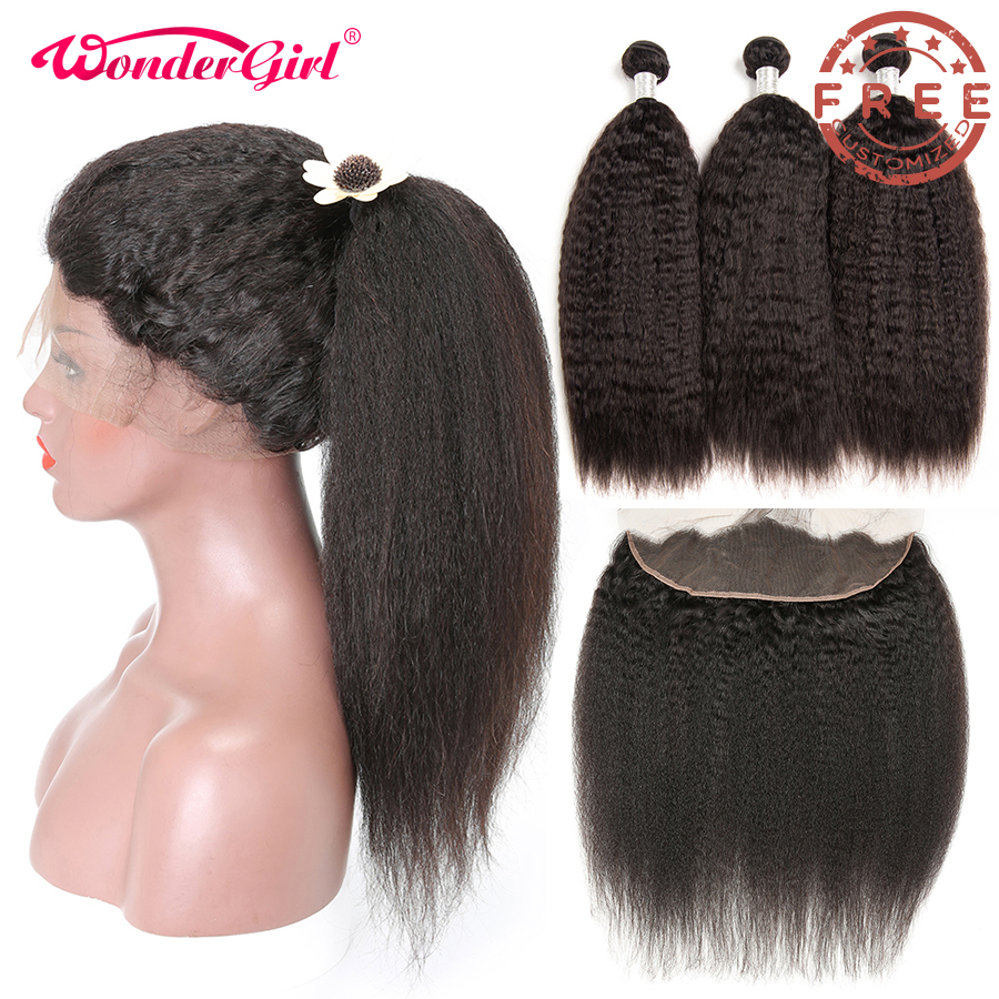 Free Customized Brazilian Kinky Straight Lace Front Wig Pre Plucked By Remy Kinky Straight Human Hair Bundles With Frontal