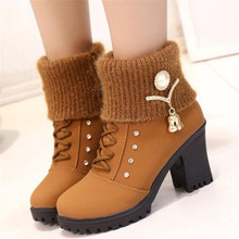 New autumn winter plus velvet solid color female riding boots high heel thick with casual women boots ankle boots for women trendy metal rivets and solid color design ankle boots for women