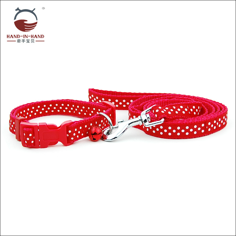 Hand-in-hand Manufacturers Direct Selling Wholesale Dogs And Cats Pet Traction Rope Drawstring 1.5 Cm Dotted Lace Pull Neck Band