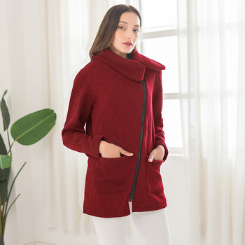 women's Coat plus velvet Autumn and winter weater Lady fashion side zipper jacket Outwear With pocket manteau femme hiver 2020