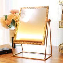 Espejo de maquillaje de Metal de rotación 360, espejo de tocador Vintage de un solo lado dorado T4MB
