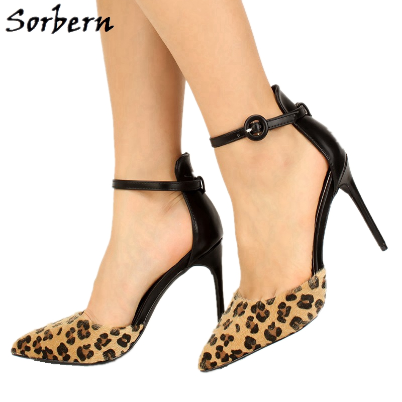 Sorbern Mature Leopard Women Pump Ankle Strap Pointy Toes Stilettos Ol Shoe Horsehair Leopard Print Shoes Ladies Designer Shoes