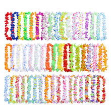 50pcs/pack Wreath Fancy Lightweight Ornaments Garland Necklace Beach Party Decor Artificial Flowers Leis Silk Cloth Durable(China)