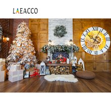 Laeacco Christmas Tree Old Rural House Gift Carpet Flower Photo Backgrounds Photography Backdrops For Digital Studio