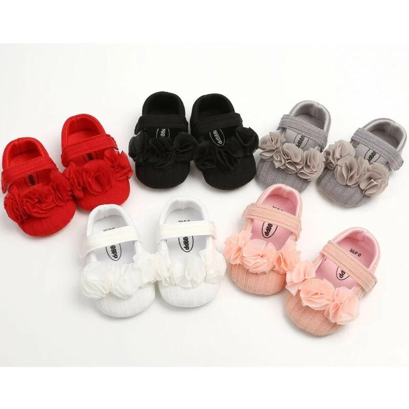 Newborn Baby Girl Crib Shoes Pram Soft Sole Prewalker Anti-slip Sneakers Floral