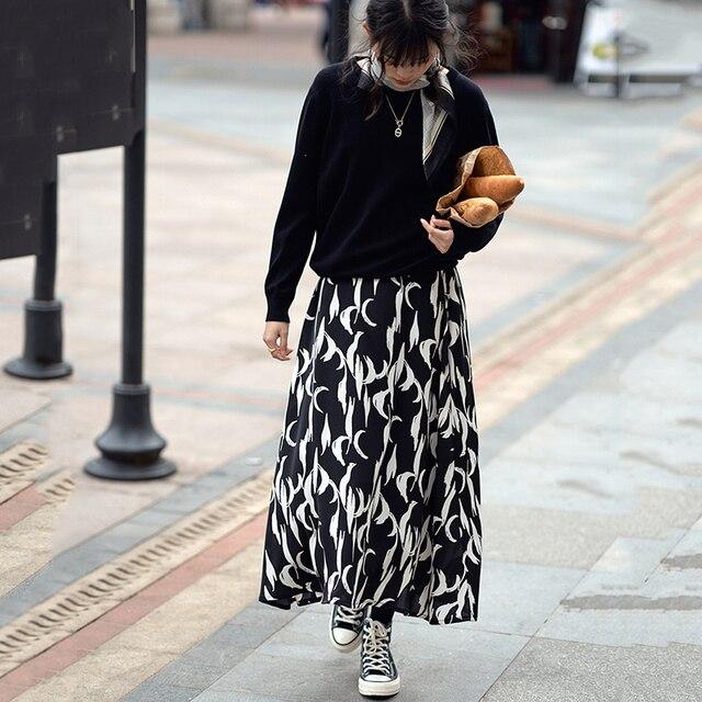 [EAM] Chiffon Pattern Print Black Long High Elastic Waist Half-body Skirt Women Fashion Tide New Spring Autumn 2021 1DD4782 2