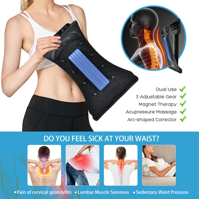 Neck Shoulder Stretcher Neck Adjustable Traction Fitness Massage Board Back Massager Stretch Relax Lumbar Support Waist