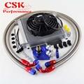 AN10 Универсальный 34 ряд Масляный радиатор двигателя + Адаптер фильтра + 7