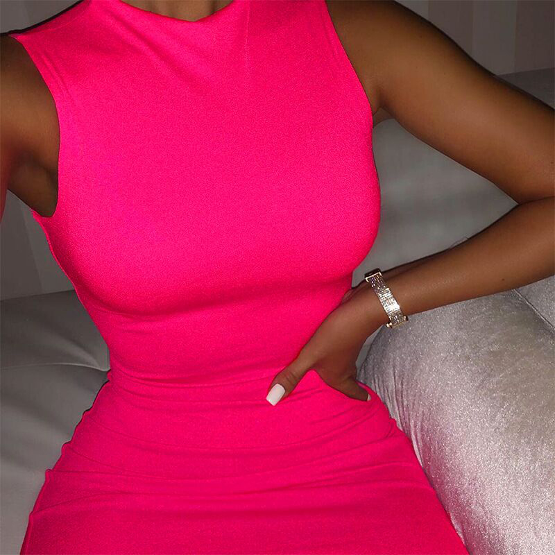 OMSJ Summer Neon Pink Sleeveless Mini Dress Bodycon Sexy Fashion Party Clubwear Skinny Solid Slim Basic 2019 Hot Dresses New