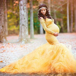 Long Sleeve Maternity Gown Lace Maxi Dress Pregnant Women Clothes Photography Pregnancy Dress Maternity Dresses for Photo Shoot