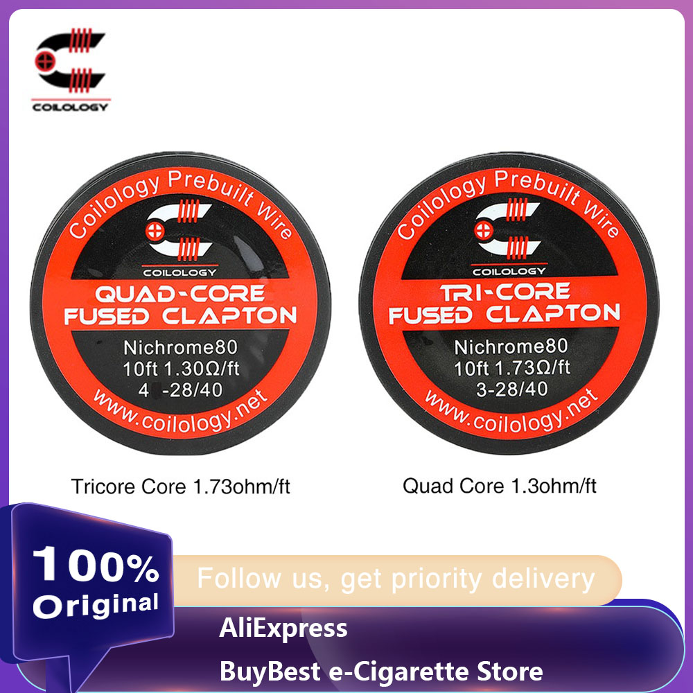 100% Original Coilology Tricore/Quad Core Fused Clapton Wire 10ft/pack With Nichrome 80 Heating Elements For DIY Lovers E-cigs