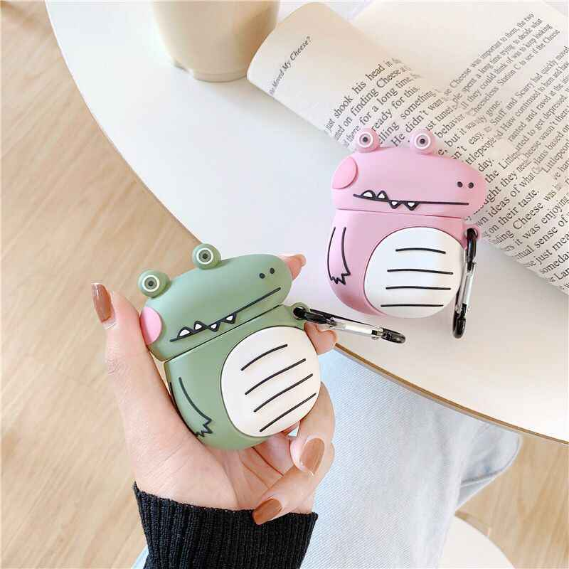 3D Cute Alligator Silicone Case For Airpods2 Bluetooth Wireless Earphone Charging Case Cartoon Cover Etui Bags for Airpods 1 2