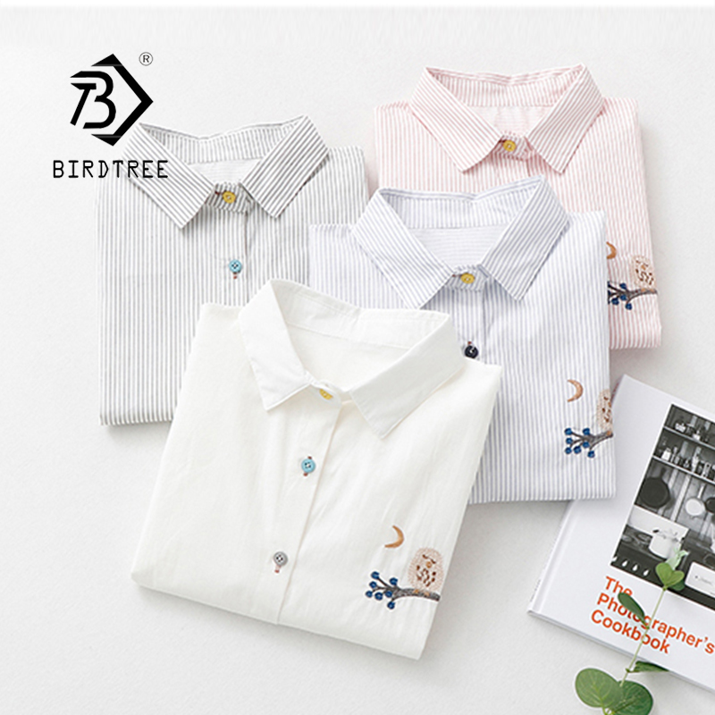 New Arrival Cotton Owl Embroidery Striped Turn-down Collar White Shirt Button Up Pink Casual Cute Blouse Feminina Blusa T9O503F