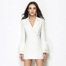 2020 High Fashion Ladies White Blazer feminino Flare Sleeve V-neck Sexy Womens Blazers and Jackets Long Slim Women's Suit YQ206(China)