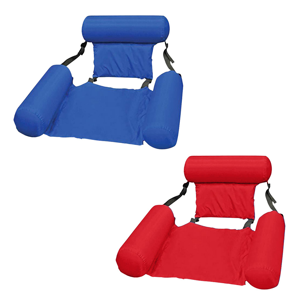 PVC Summer Inflatable Foldable Floating Row Backrest Air Mattresses Beach Swimming Pool Water Sports Lounger Chair Hammock Mat