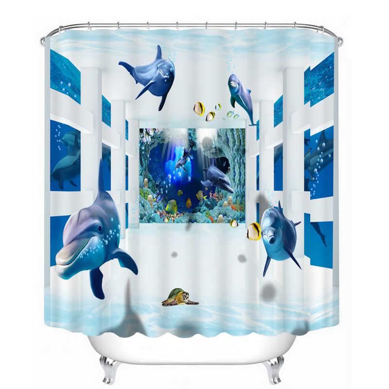 3D подводный мир узор занавеска для душа s Дельфин Морская звезда Водонепроницаемая занавеска для ванной утолщенная Ванна занавеска настраиваемая