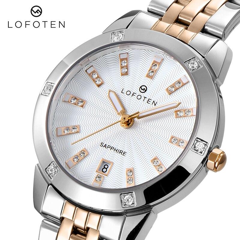 Модные брендовые роскошные женские часы из нержавеющей стали, розовое золото, сапфировые бриллианты, водонепроницаемые женские кварцевые