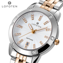 Fashion Brand Luxury Ladies Stainless Steel Rose Gold Sapphire diamonds Water Proof womens Quartz
