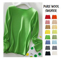 pure wool sweater women green long sleeve winter clothes ladies tops korean merino woman knitting jumper fall pulover clothing