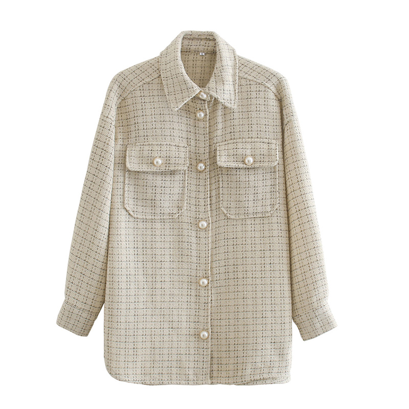 Women Blazer Za 2021 Office Lady Beige Plaid Print Singe Button Jacket Women Long Sleeve Casual Blazer Tops Mujer 7