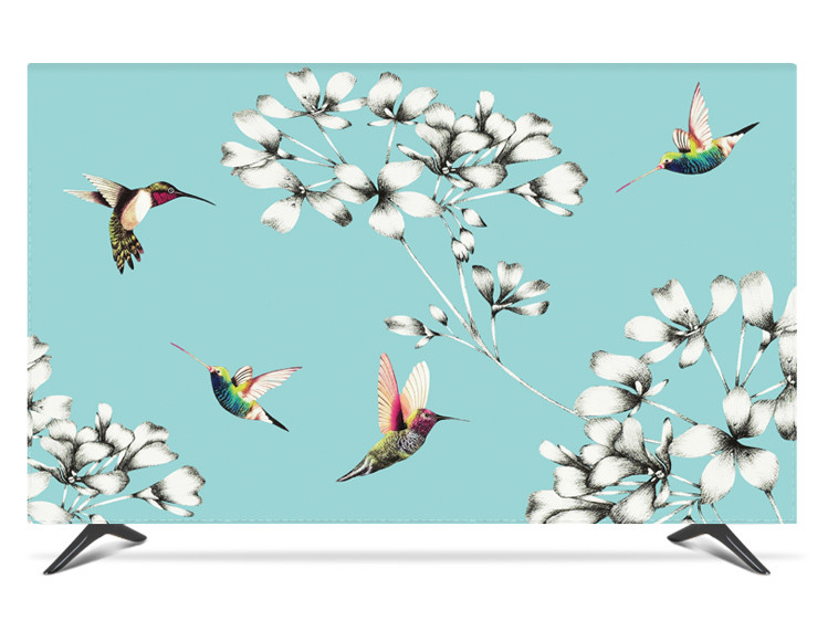 """19""""   80"""" 22 inch 75 inch Screen LCD TV PC Cover Decorative Hood Curtain Waterproof Birds Floral Tiffany Green