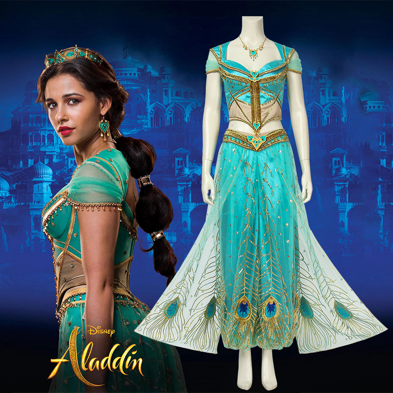 Aladdin Film Cosplay Costume Jasmine Adult Lamp Princess Fancy Dress Custom Made Halloween Costumes For Women Girls Carnival-in Movie & TV costumes from Novelty & Special Use