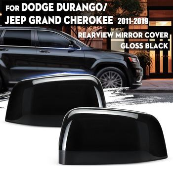 New 2Pcs Car Rearview Side Mirror Cover Cap Gloss Black Wing Mirror Styling For Jeep Grand Cherokee 2011-2019 for Dodge Durango