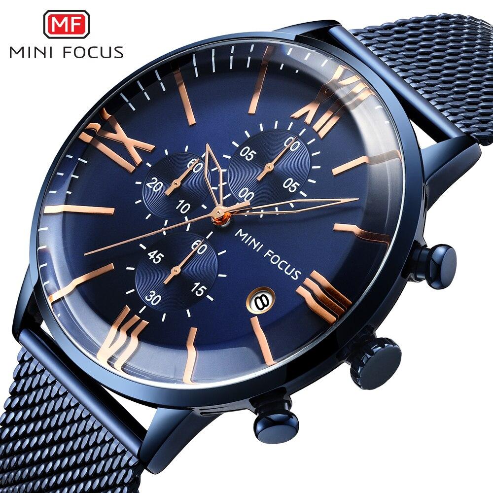 Cinta de Aço Apresentação do Calendário à Prova Relógios de Quartzo dos Homens do Cronógrafo Homens Inoxidável Multifunções Minifocus Completo d' Água Marca