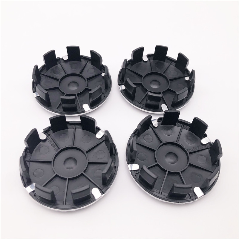 4x Universal Auto Car Wheel Hub Center Caps Cover Black Carbon Fiber ABS Plastic
