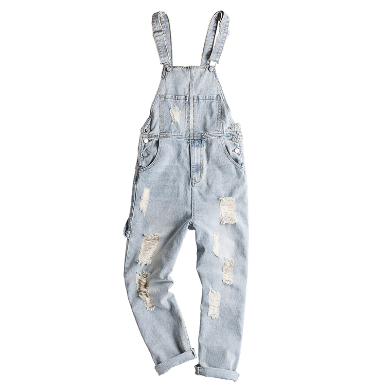 Sokotoo Men's Light Retro Blue Holes Ripped Denim Bib Overalls Distressed Jeans Suspenders Jumpsuits Coveralls