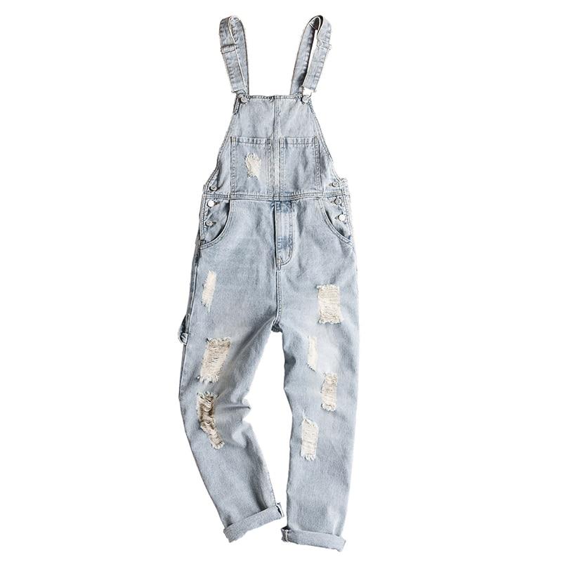 Sokotoo Men's light retro blue holes ripped denim bib overalls Distressed jeans Suspenders jumpsuits Coveralls