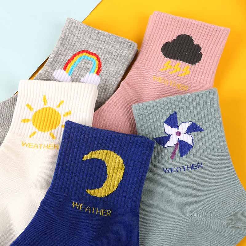 Cute Autumn/winter New Socks Women Korean Weather Socks Cotton Cartoon Women Tube Socks