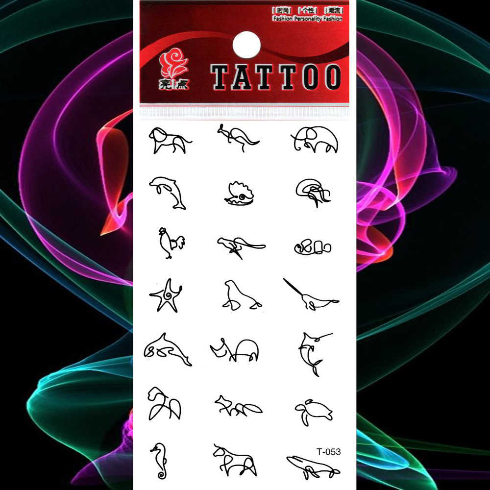Waterproof Tattoo Mini Animal Sketch Temporary Tattoos Stickers Doodle Fake Tatto Women Girl Men Body Chest Back Art Flash Tatoo