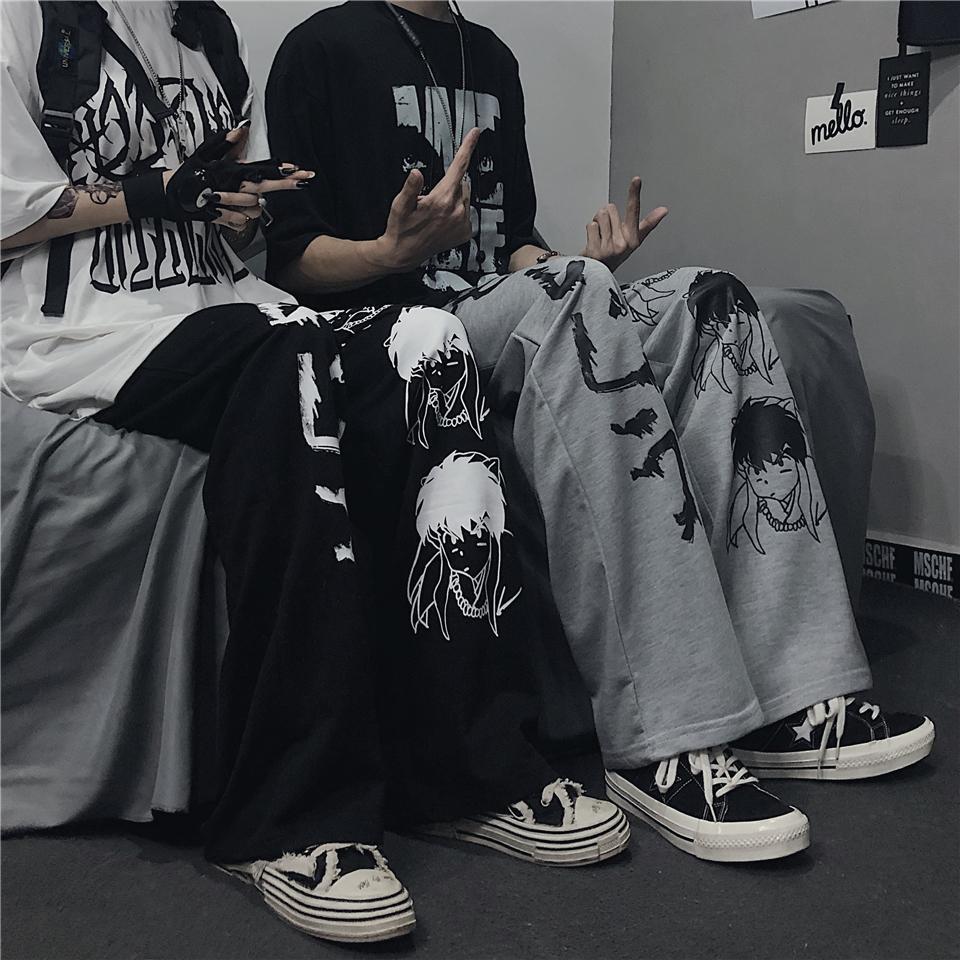 Harajuku anime personagens de moda padrão japonês hip hop calças largas perna masculina casual streetwear elástico cintura jogger calças