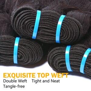 Image 3 - Water Wave Bundles With Closure Brazilian Hair Weave Bundle Sunlight Non Remy Lace Closure Human Hair 4 / 3 Bundles With Closure