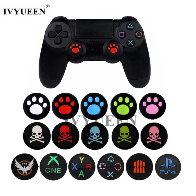 IVYUEEN 2 pcs Cat / Skull Print Silicone Joystick Thumbsticks Grip Caps for Dualshock 4 PS4 Pro Slim Controller for XBox One X S
