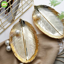 Nordic INS light luxury gold leaf handmade ceramic jewelry plate storage tray desktop ornaments home decoration accessories