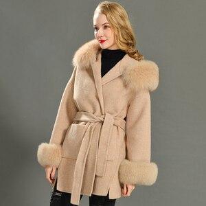 Image 5 - Kaşmir ceket kadınlar ayrılabilir tilki kürk yaka yün karışımı ceket ve ceket kemer bayanlar sonbahar kış kaşmir palto