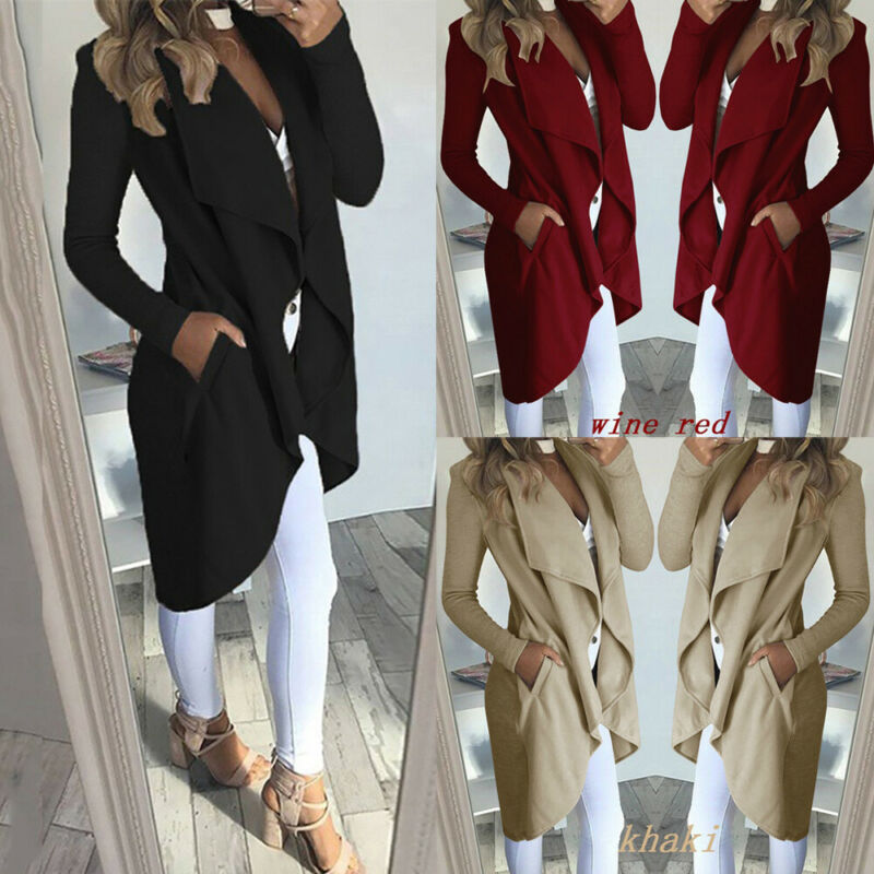 2020 Womens Long Sleeve Trench Coat Ladies Cardigan Overcoat Jumper Plus Size XXL Autumn Winter Fashion Clothes