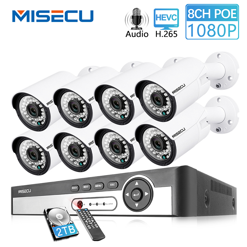 MISECU H.265 8CH 1080P POE Security Camera System Kit Audio Record IP Camera IR Outdoor Waterproof Video Surveillance NVR Set