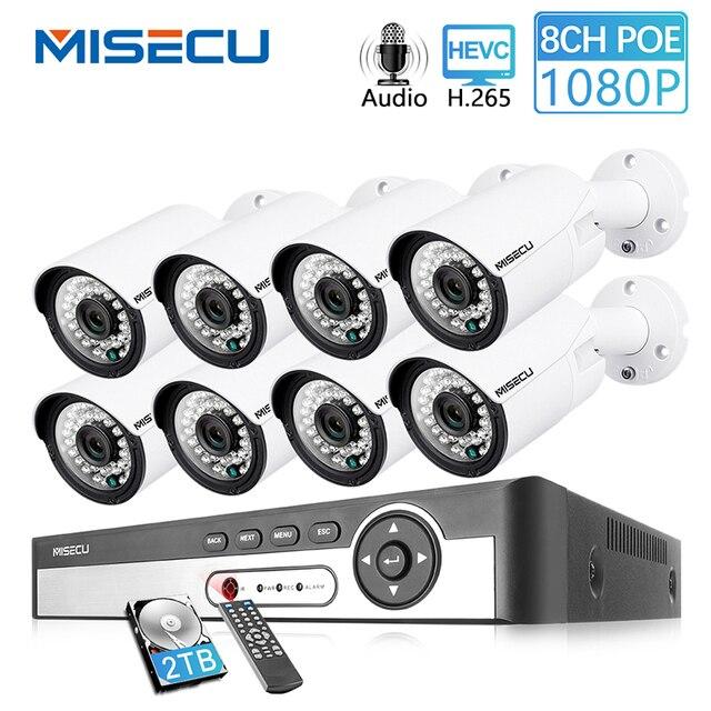 MISECU H.265 8CH 1080P POE نظام الكاميرا الأمنية عدة الصوت سجل كاميرا IP الأشعة تحت الحمراء في الهواء الطلق مقاوم للماء مجموعة NVR المراقبة بالفيديو