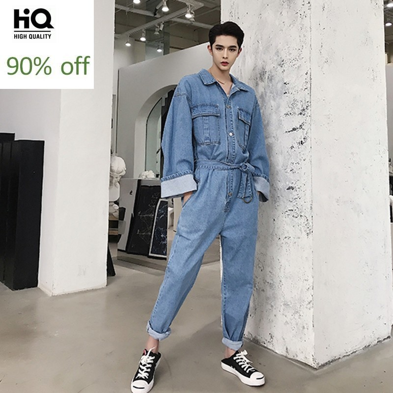 New Men Vintage Fashion Casual Loose Denim Overalls Streetwear Hip Hop Long Sleeve Jeans Harem Pant Male Jumpsuit Jeans Trousers