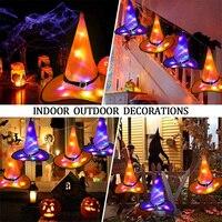 Sombreros de bruja con luces LED para decoración de Halloween, adornos colgantes de árbol exterior para disfraz de Halloween