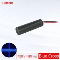 Alta qualidade 80mw 450nm azul laser cruz módulo laser sight pointer classe industrial marcação A Laser localizador de posição personalizável
