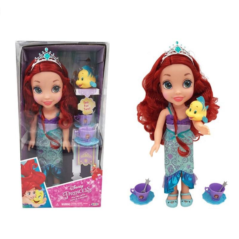 Disney Cartoon Princess Doll Kawaii Ariel Mermaid Pretend Play Aaction Figure Model Toys Birthday Christmas Gifts Toys For Kids