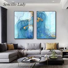 Toile avec Texture bleue et dorée, peinture d'art abstrait moderne, affiche murale moderne