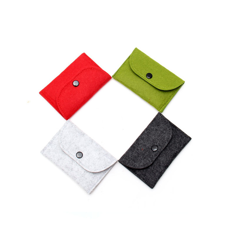 1PC Thin Wallet Solid Square Felt Mini Coin Purse Small Bag Mini Wallet Girl Change Purse Bag Business Card Holder