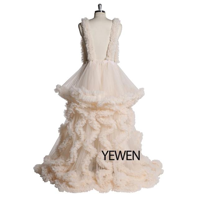 Custom Colors V-neck Photography Dress Ivory Ruffles Wedding Dress Long 2020 Bridal Gowns Plus Size 5