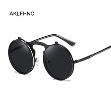 Steampunk Sunglasses Goggles Circle Lens Side-Visor Retro-Style Vintage Women Round Oculos-De-Sol