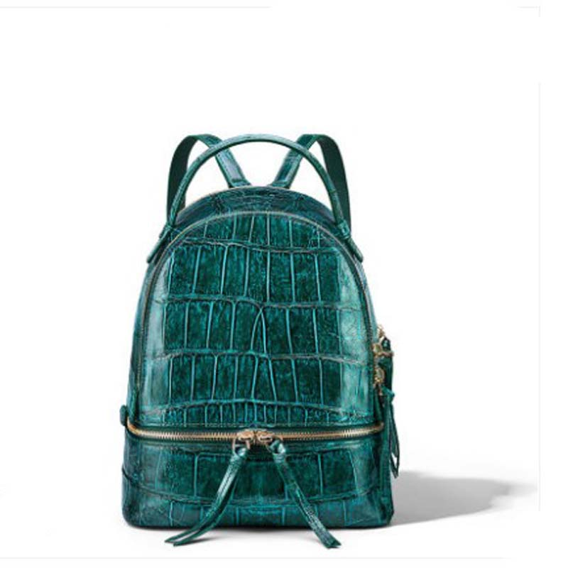 Gete Americas Alligator Leather  Backpacks A New Fashion Travel Bag  Large Capacity Crocodile Skin Backpacks For Women Backpack
